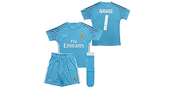 Réplica oficial Equipación portero Real Madrid Keylor Navas niño camiseta pantalón y medias última talla 2 - 2: Amazon.es: Deportes y aire libre