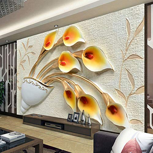 HYXMK Custom Wall Painting Wallpaper Non-Woven 3D Embossed Flower Wallpapers for Living Room Tv Background Wall Paper Mural De Parede
