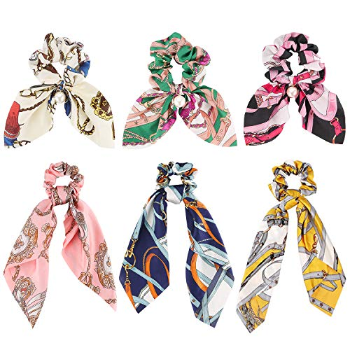 Bow Scrunchies for Hair, Funtopia 6 Pcs Ribbon Hair Scrunchies with Printed Pattern, Including 3 Satin Scarf Scrunchies & 3 Bunny Ear Scrunchies, Cute Bowknot Hair Ties Ropes for Women Girls