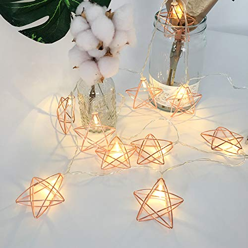 LED Rose Gold Geometric Light String Garden Fairy Lights, Party Event Decoration | Battery Operated, 5 ft. 10 LED Warm White(Star)