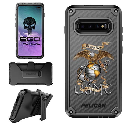 U.S. Marines EGA Semper Fidelis Limited Edition Pelican Shield Case for Samsung Galaxy S10 Plus Designs by Ego Tactical with Ratcheting Belt Clip Holster