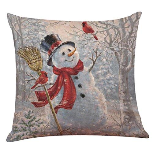Challyhope Christmas Cute Snowman Santa Print Cotton Linen