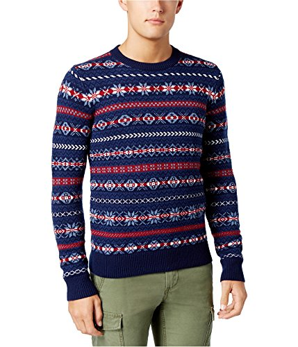 Tommy Hilfiger Mens LS Knit Pullover Sweater, Blue, - Pullover Knit Ls