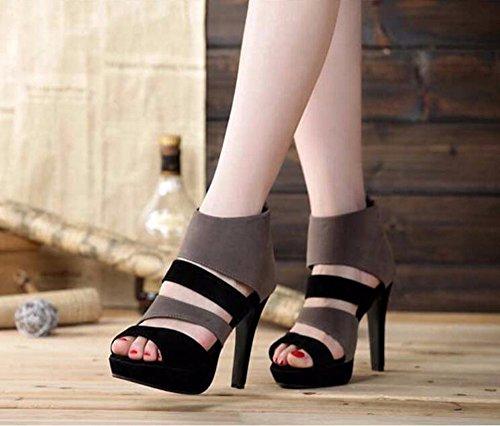 KHSKX-Nueva Moda Suede Color Sastreria De Mujer Zapatos Boca De Pescado Vaciado Con Plataforma Zapatos De Tacon Alto Sandalias De Mujer De Verano Impermeable gray