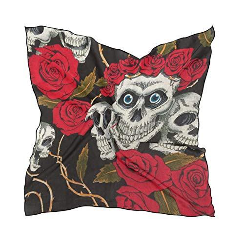 Silk Scarf Halloween Skull Square Headscarf 23 x 23 inches for Women -