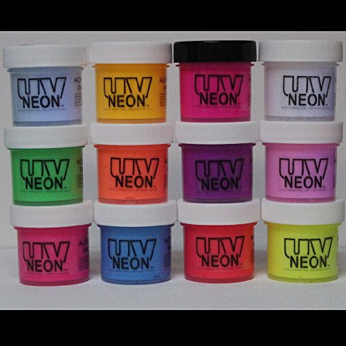12 Color Set UV Black Light .5oz (6oz), Neon Rave Fluorescent Acrylic Paint -