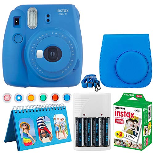 Fujifilm Instax Mini 9 Instant Camera (Cobalt Blue) + Fujifilm Instax Mini Twin Pack Instant Film (20 Exposures) + Camera Case + Scrapbooking Album + 4 AA Batteries & Charger + 6 Colored Lens Filters