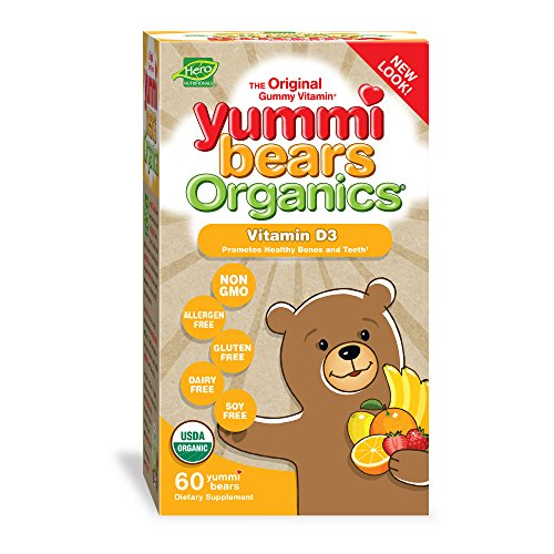 Yummi Bears Organics Vegetarian Vitamin-D Gummy Vitamin Supplement for Kids, Gummy Bears, 60 Count