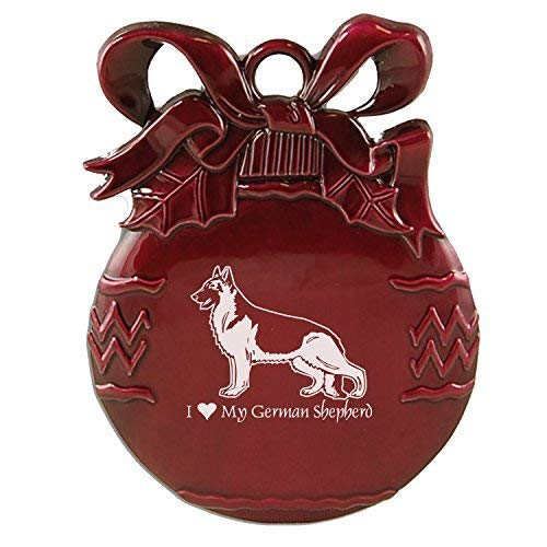 - Pewter Christmas Tree Ornament-I love my German Shepherd-Burgundy