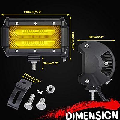 Chelhead Yellow LED Light Bar, 6D 5.3 Inch Waterproof 7200LM 3000K Flood Off Road LED Driving Work Lights Fog Lamps for Jeep SUV ATV UTV Truck Boat (2 Packs): Automotive