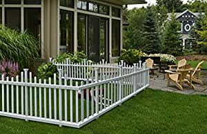 """Zippity Outdoor Products ZP19001 No-Dig Vinyl Picket Unassembled Garden Fence (2 Pack), 30"""" x 58"""", White"""
