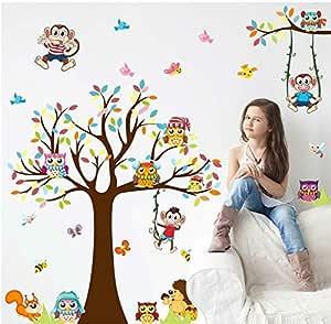 Cartoon tree and animals wall stickers living room bedroom children room decoration mm