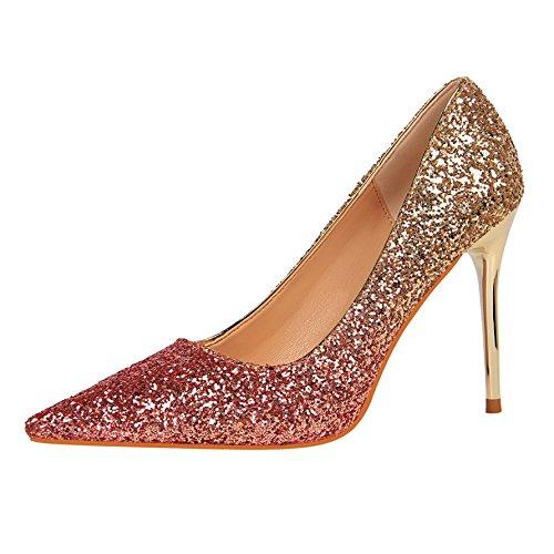Color Tacones Lentejuelas Temperamento Señaló Gradiente Boda Altos Lujo Estilete Flyrcx Moda M Zapatos Señoras De qd4wBxB0I