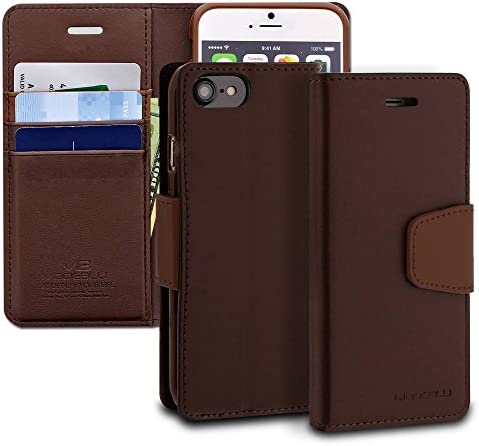 [해외]iPhone 8 Case ModeBlu [Classic Diary Series] [Brown] Wallet Case ID Credit Card Cash Slots Premium Synthetic Leather [Stand View] for Apple iPhone 8 (2017) / iPhone 8 Case, ModeBlu [Classic Diary Series] [Brown] Wallet Case ID Cred...