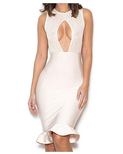 Whoinshop Women's Lace and Bandage Peek-a-boob Falbala Dress