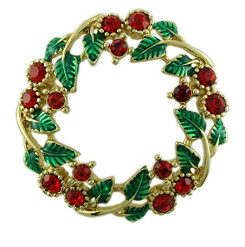 Lilylin Designs Holly and Berries Christmas Wreath Brooch (Crystal Berry Wreath)