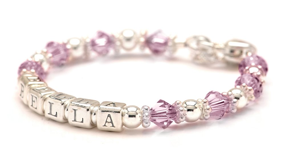 Lily Brooke Personalized Baby Charm Bracelet - All Birth Month Crystal Colors (June)