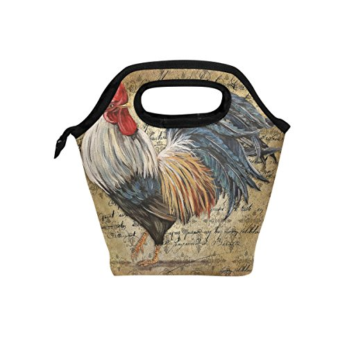 Florence Vintage Poultry Rooster Cooler Warm Pouch Lunch Bags Lunchbox For School Work Portable Meal Handbags Food Container Tote For Picnic