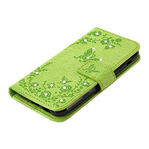 Funda Samsung Galaxy A3 2017 / A320, 4.7 pulgadas, Cáscara Samsung Galaxy A3 2017 / A320, Alfort Caso Protector de cuero PU Cuero Sintético con diamantes de imitación Cierre Magnético La tapa de la Cu Verde