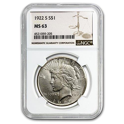 1922 S Peace Dollar MS-63 NGC $1 MS-63 NGC