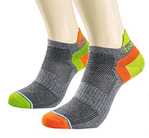 1000 Mile Women's Trainer Liner Sports Socks, Grey/Orange, Small