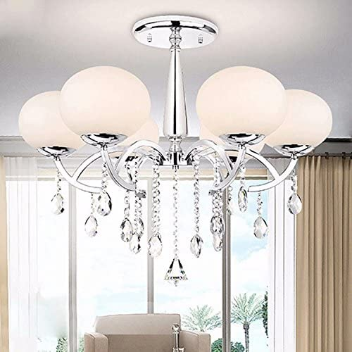LOCO Elegant Modern 6 Light Chandelier with Shade Global Morden, Ceiling Light Fixture