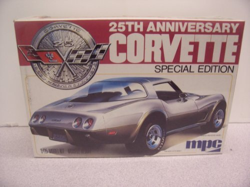 #1-3708 MPC 25th Anniversary Corvette Special Edition 1/25 Scale Plastic Model Kit,Needs Assembly