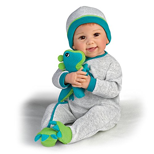 Linda Murray So Truly Real Poseable Baby Doll With Plush Dinosaur by The Ashton-Drake Galleries