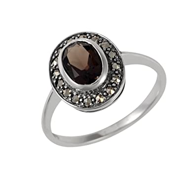 ESSE Sterling Silver Large Olive Quartz and Marcasite Ladies Dress Ring Size - M Visit Online Pre Order Online New Cheap Price Best Place Discount Fashionable 6WE2T4rzHP
