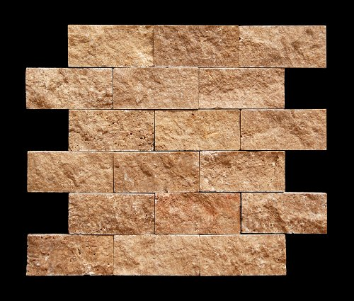 Noce 2 X 4 Travertine Split-Faced Mosaic (Limestone Mosaic Tile)