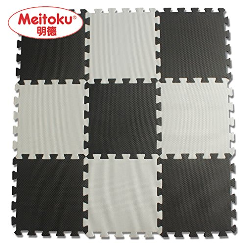 Meitoku Solid EVA foam puzzle mat /24Tiles Black and Whit...