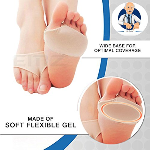 Anti Grinding Forefoot Cushion, Anti-pain Socks Insoles, Silicone Protection Toe Undies Pad, Nylon Lycra Dance Paw Half Sole Protector, for Foot Pain Ballet Dance Lyrical Shoes Fitness (Shock Bottom)