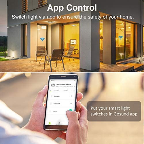 Gosund Smart Dimmer Switch, WiFi Smart Light Switch Work with Alexa and Google Home, 4 Pack, Single-Pole, Remote Control, No Hub Required, ETL and FCC Listed 51SIozSmk2L