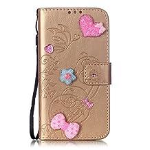 DaYiYang HUAWEI NEXUS 6P Case, Single Side Embossed Flower Pattern PU Leather Case, Resin Rhinestone Case Book Design Foldable Strap Case Wallet Stand Case for HUAWEI NEXUS 6P ( Color : Golden , Size : HUAWEI NEXUS 6P )