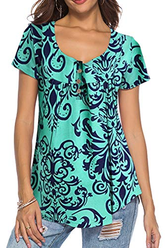 Women's Paisley Printed Button Top Long Sleeve V Neck Pleated Casual Flare Tunic Loose Blouse Shirt (Short Sleeve Greren, X-Large)