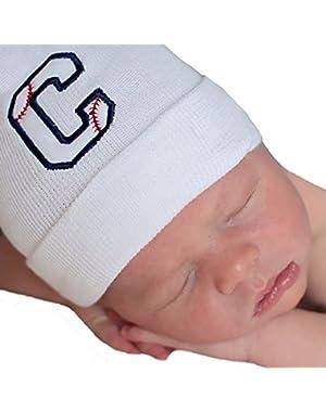 Melondipity Baseball Initial Baby Boy Hospital Hat - Personalized Newborn Hat