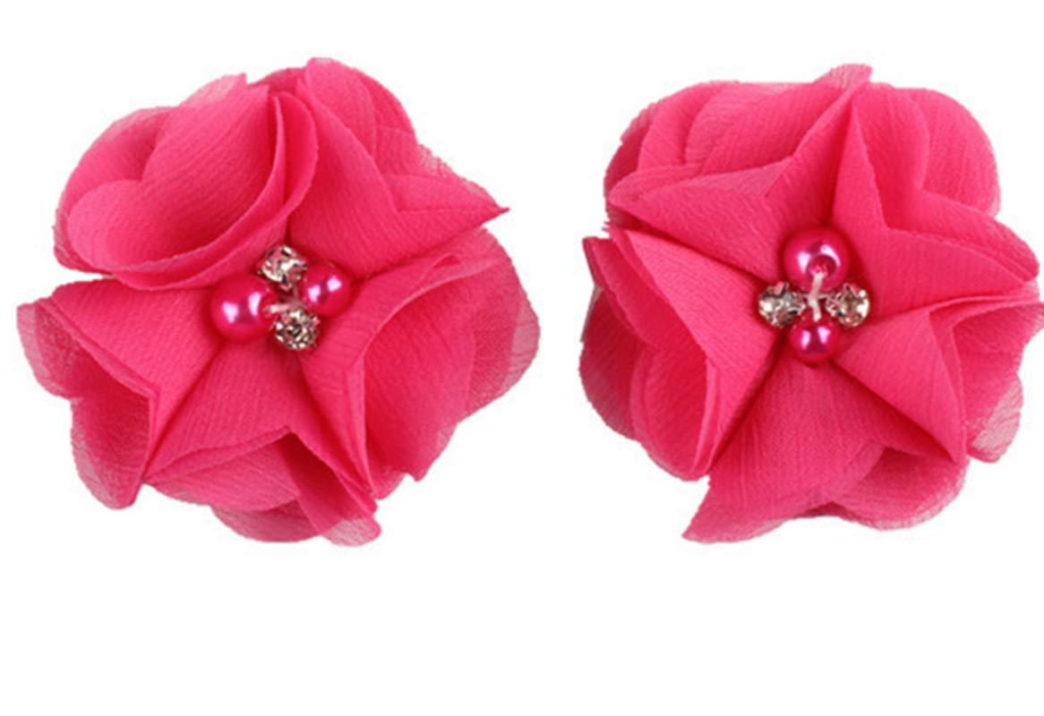 2pcs Lovely Girls Mini Chiffon Flowers with Pearl Rhinestone Center Hair Clips