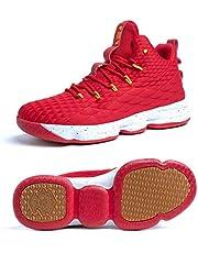 Scarpe Uomo da Pallacanestro Leggere Basket Sneakers Alte Sportive Esterno Grandi Calzature da Corsa Nero Rosso Champagne Verde Acceso 36-46 Rosso 36