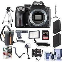 Pentax K-70 24MP Full HD Digital SLR Camera, Body Black - Bundle with 64GB SDXC Card, Holster Case, 2x Spare Battery, Tripod, Video Light, Shotgun Mic, Triple Shoe V Bracket, Software Package. More