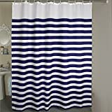 Shower Curtain Extra Wide 84 x 78 inches Welwo Fabric Shower Curtain Liner X-Wide with Hooks for Bathroom - Weighted Hem, Rust-Repellent Metal Grommets and Waterproof/Mold-Repellent, Blue White Stripe