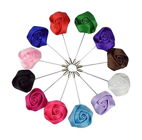 Freedi Men's Flower Lapel Pin Boutonniere Premium Handmade Silk Lapel Brooch for Suit,Set of 10(Color Random)