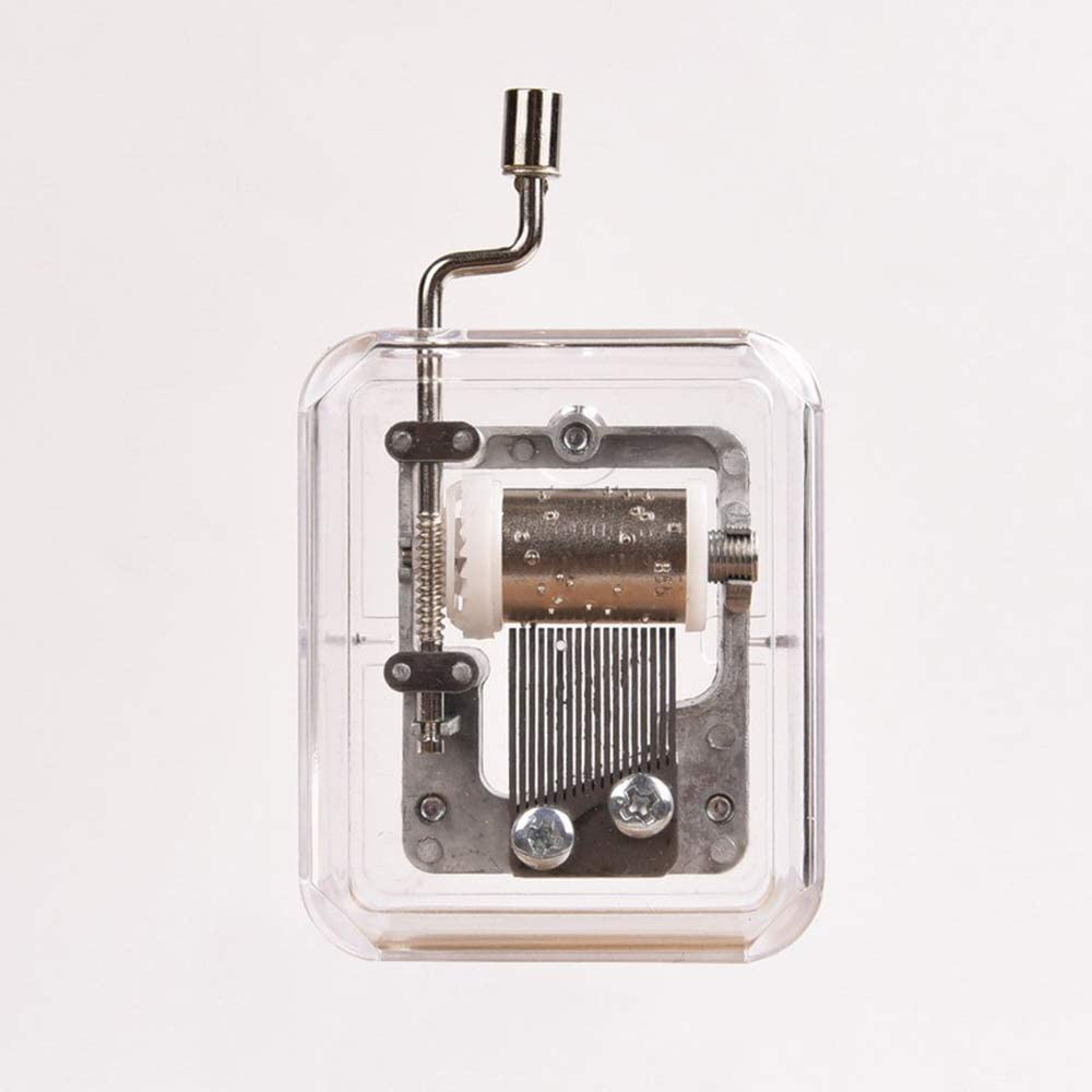 Caja de m/úsica de mecanismo de manivela de acr/ílico transparente /único movimiento de caja de m/úsica de bricolaje artesanal bricolaje haga su kit de herramientas de m/úsica