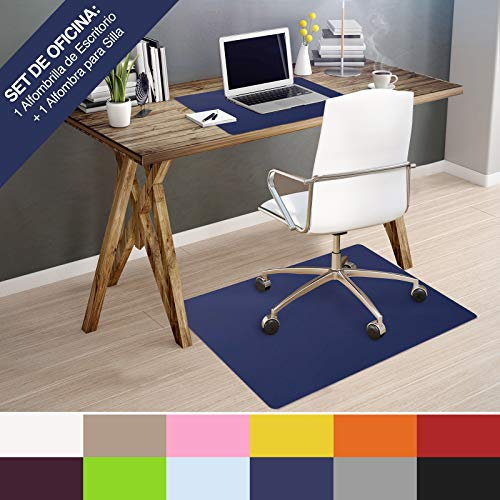 OfficeMarshal Set de Escritorio | Kit Ideal - Escuela y Oficina | 100% Polipropileno | Alfombras para Silla (75x120cm) + Alfombrilla de Escritorio (65X50cm) - Azul Oscuro
