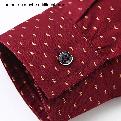 MUSE FATH Men's Printed Dress Shirt-100% Cotton Casual Long Sleeve Shirt- Interview Dress Shirt-Wine Red-M