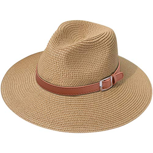 (Lanzom Women Wide Brim Straw Panama Roll up Hat Fedora Beach Sun Hat UPF50+ (X Buckle Belt-Brown))