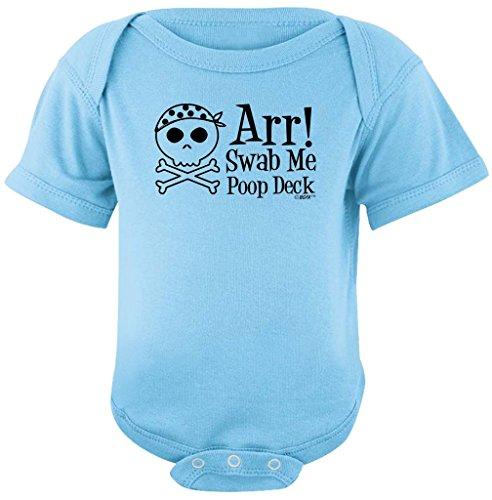 (Funny Baby Clothes ARR Swab Me Poop Deck Pirate Bodysuit 6 Months Light Blue)