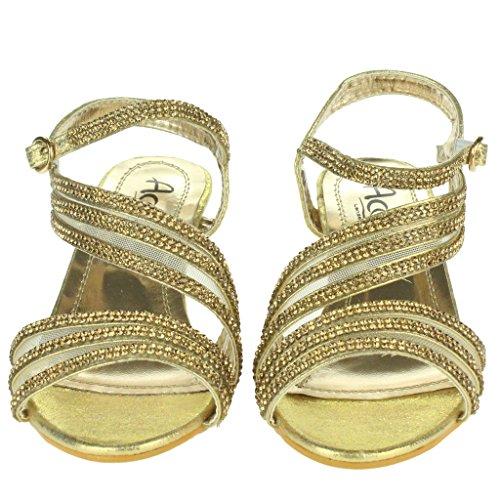Niñas Niños Chicas Piedras de Strass Multi correas de malla Noche Tacón medio Boda Fiesta Princesa Cumpleaños Cristal Sandalias Zapatos Talla Oro