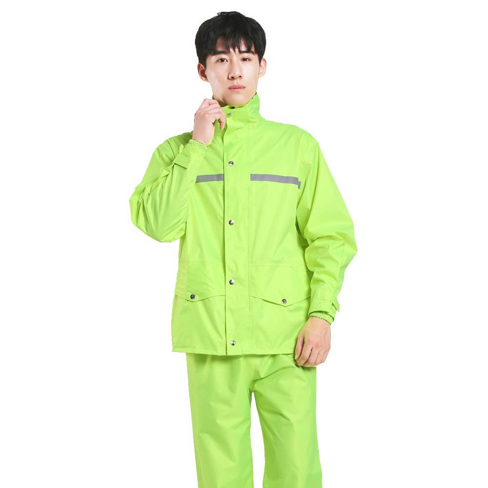 Tianwang Skynet Rain Suit Jacket & Trouser Suit Raincoat Unisex Outdoor Waterproof Anti-storm (XXL, Fluorescent green)