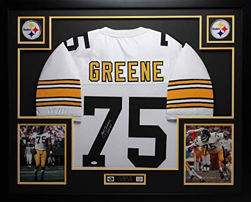 Joe Greene Autographed White Steelers Jersey - Beautifully Matted and Framed - Hand Signed By Joe Greene and Certified Authentic by JSA COA - Includes Certificate of - Signed Jersey Hand Steelers
