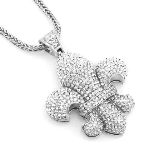 Hip Hop Bling Silver Tone Fleur De Lis Pendant Necklace free 36